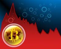 La bulle de Bitcoin et la carte du monde sur le maket courant se brisent des graphiques et illustration de vecteur