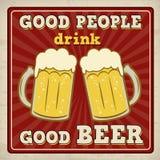 La buona gente beve il buon manifesto della birra illustrazione vettoriale