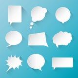 La burbuja blanca del discurso de la comunicación del vector se nubla los wi Foto de archivo libre de regalías