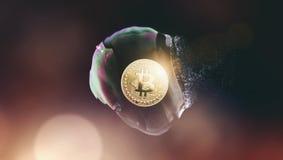 La burbuja de Bitcoin estalló - Bitcoin-desplome - el cryptocurrency digital co imagen de archivo libre de regalías