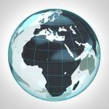 La burbuja de la tierra del globo del mundo se enfocó a África y a Europa Imágenes de archivo libres de regalías