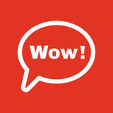 La burbuja del discurso con el icono de la palabra guau Internet y charla, símbolo en línea plano Fotografía de archivo libre de regalías
