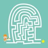 La bussola della tenuta dell'uomo d'affari va al labirinto Immagini Stock