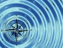 La bussola (rosa dei venti) nell'acqua Immagine Stock Libera da Diritti