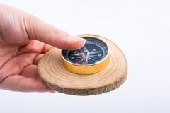 La bussola su un ceppo di legno ha tagliato nei pezzi sottili rotondi sul backgrou bianco Fotografia Stock Libera da Diritti