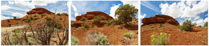 La butte rouge bascule le collage de bad-lands de désert Photo stock