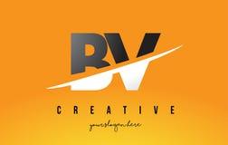 La BV B.V. Letter Modern Logo Design avec le fond jaune et le Swoo illustration stock