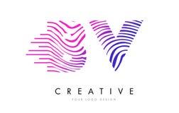 La BV B.V. Zebra Lines lettre Logo Design avec des couleurs magenta Photos stock