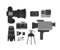 La cámara de vídeo del foto y, iconos fijó en estilo plano Ejemplo del vector del equipo del fotógrafo Fotos de archivo libres de regalías