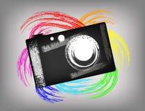 La cámara del grunge stock de ilustración