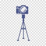 La cámara en el vector del icono del trípode Fotos de archivo libres de regalías