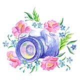 La c?mara en las flores ilustración del vector