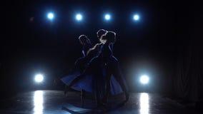 La cámara lenta de cuatro experimentó a las bailarinas agraciadas que bailaban ballet moderno almacen de video
