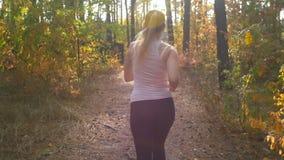 La cámara lenta de la vista posterior tiró de mujer joven con la cola de caballo que corría en el bosque almacen de metraje de vídeo