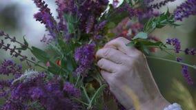 La cámara lenta, primer, chicas jóvenes que las manos del ` insertan una flor en una guirnalda de los acianos del campo coloca, q almacen de video