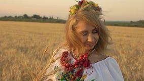 La cámara lenta, primer, mujer hermosa en traje nacional con trigo clava miradas disponibles abajo en trigo creciente encendido almacen de metraje de vídeo