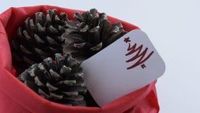 La cámara se mueve adelante de tres conos del pino en bolso rojo con la tarjeta de felicitación estacional metrajes