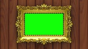 La cámara se mueve a lo largo de marcos del oro en fondo de madera marrón animación colocada inconsútil 3d Maqueta con ruido de l almacen de metraje de vídeo