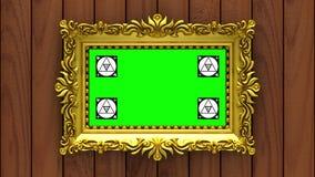 La cámara se mueve a lo largo de marcos del oro en fondo de madera marrón animación colocada inconsútil 3d Movimiento que sigue a almacen de metraje de vídeo