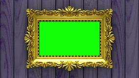 La cámara se mueve a lo largo de marcos del oro en fondo de madera púrpura animación colocada inconsútil 3d Maqueta con ruido de  ilustración del vector