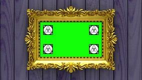 La cámara se mueve a lo largo de marcos del oro en fondo de madera púrpura animación colocada inconsútil 3d Movimiento que sigue  stock de ilustración