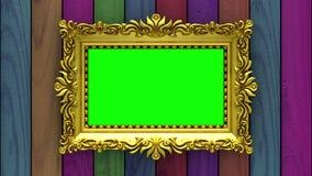 La cámara se mueve a lo largo de marcos del oro en fondo de madera varicolored animación colocada inconsútil 3d Maqueta con la TV libre illustration
