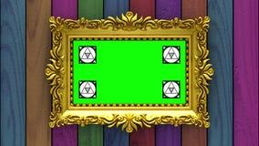 La cámara se mueve a lo largo de marcos del oro en fondo de madera varicolored animación colocada inconsútil 3d Seguimiento del m libre illustration