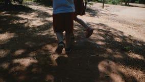 La cámara sigue a los hermanos del niño pequeño y de la muchacha que corren en el parque juntas que lleva a cabo las manos, jugan almacen de video
