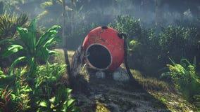 La cápsula de espacio arruinada miente en la selva en el medio de las palmeras y de la vegetación tropical ilustración del vector