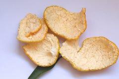 La cáscara de ŒOrange del ¼ de Blancoï del reticulata de la fruta cítrica se puede utilizar como medicina después de secar, es un imágenes de archivo libres de regalías