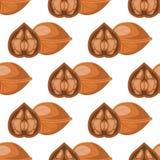 La cáscara de nuez sana del ornamento del fondo de la comida del nack nuts tradicional inconsútil del modelo de la nuez wallpaper Imagen de archivo