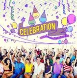 La célébration célèbrent le concept de Social d'événement d'anniversaire images libres de droits