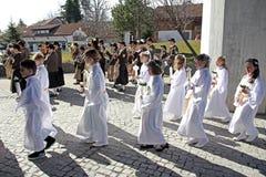 La célébration de la première sainte communion Photographie stock