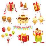 La célébration mignonne de fête d'anniversaire a rapporté des caractères d'objets réglés illustration stock