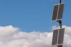 La célula solar se está colocando en la calle Imagen de archivo libre de regalías