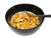 La céréale de petit déjeuner organique croustillante et saine s'écaille avec la canneberge sèche par rouge et le lait de soja fro Images libres de droits