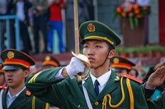 La cérémonie chinoise de drapeau national image libre de droits