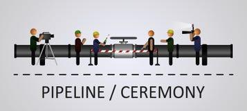 La cérémonie d'ouverture de la canalisation avec les personnes Image libre de droits