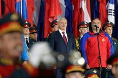La cérémonie d'ouverture du championnat du monde en feu et la délivrance folâtrent à St Petersburg, Russie Image libre de droits