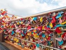 La cérémonie de clé d'amour au parc de Yongdusan Images libres de droits