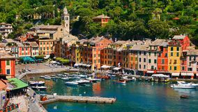 La côte colorée dans Portofino, Italie photographie stock