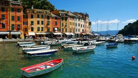 La côte colorée dans Portofino, Italie Images libres de droits