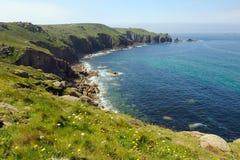 La côte cornouaillaise atterrit l'extrémité Image libre de droits