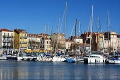 La Côte d'Azur, Golfe Juan, station de vacances de mer, marina Images libres de droits