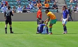 La Côte d'Ivoire et match de football du Japon Photos libres de droits