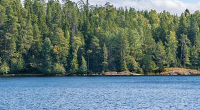 La côte de l'île est Valaam Image libre de droits