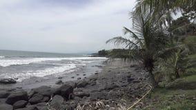 La côte de la mer tropicale dans le jour ensoleillé, vagues courues sur la côte avec les pierres noires, mouvement lent banque de vidéos