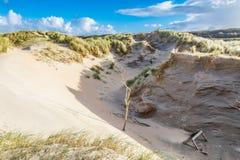 La côte néerlandaise de paysage dunaire avec des dérives de sable et le vent ont érodé les trous profonds Photo stock