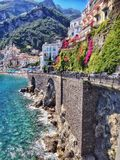 La côte d'Amalifi, ville d'Amalfi Photographie stock