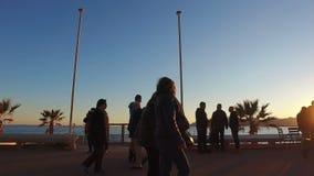 La Côte d'Azur au coucher du soleil banque de vidéos